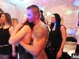 Girls at a party suck on cocks